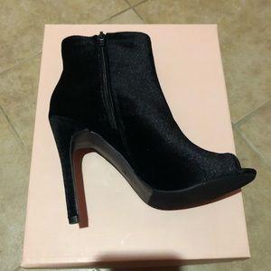 Size 7, Black Velvet booties. Never worn